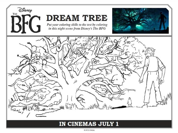 BFG Dream Tree Coloring Sheet