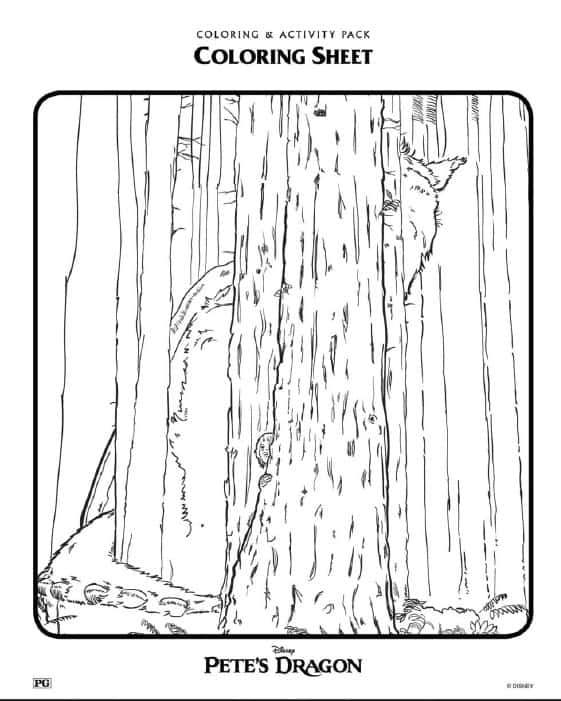 Pete's Dragon Coloring Sheets Pete and Elliot in the Woods
